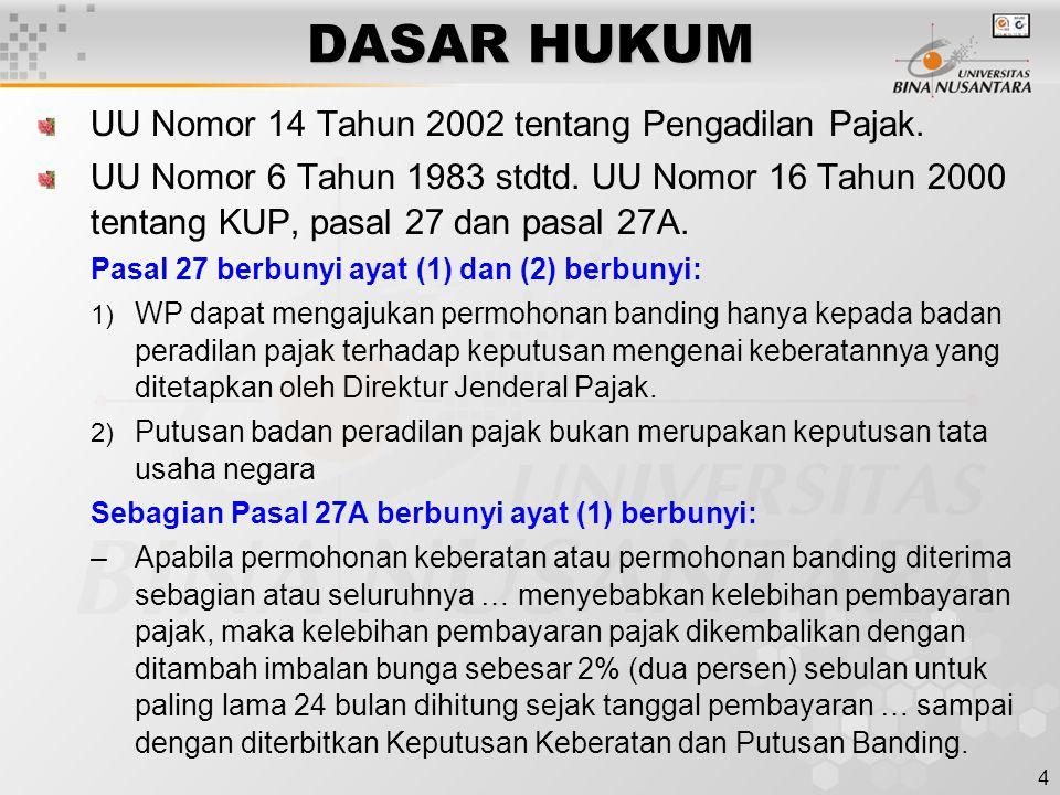 DASAR HUKUM UU Nomor 14 Tahun 2002 tentang Pengadilan Pajak.