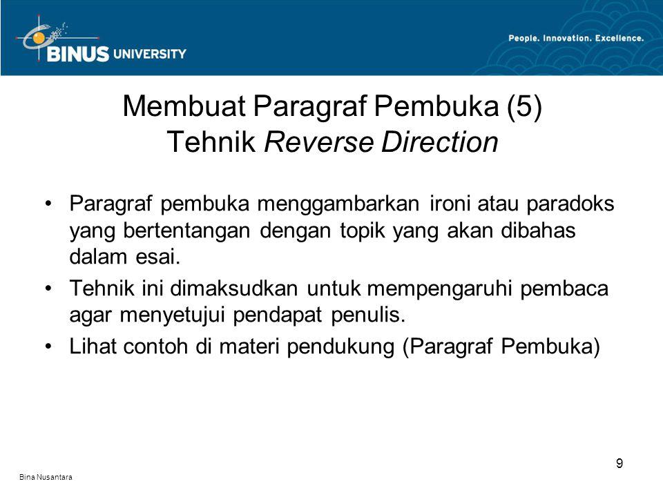 Membuat Paragraf Pembuka (5) Tehnik Reverse Direction