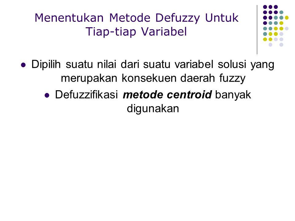 Menentukan Metode Defuzzy Untuk Tiap-tiap Variabel