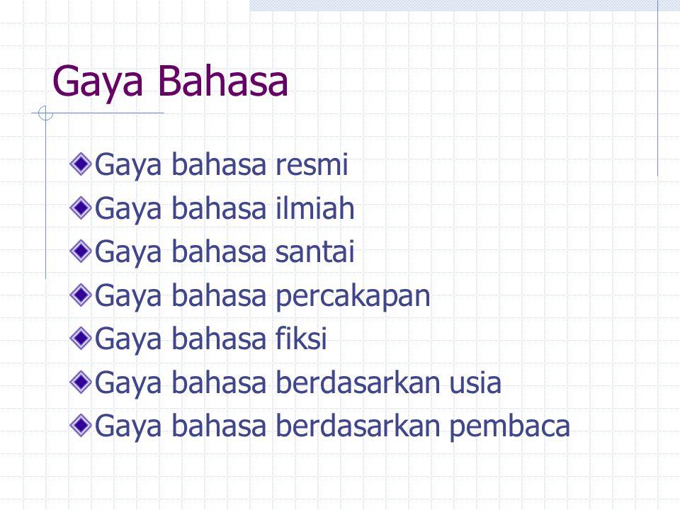 Gaya Bahasa Gaya bahasa resmi Gaya bahasa ilmiah Gaya bahasa santai