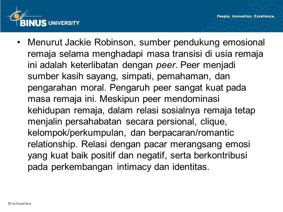 Menurut Jackie Robinson, sumber pendukung emosional remaja selama menghadapi masa transisi di usia remaja ini adalah keterlibatan dengan peer. Peer menjadi sumber kasih sayang, simpati, pemahaman, dan pengarahan moral. Pengaruh peer sangat kuat pada masa remaja ini. Meskipun peer mendominasi kehidupan remaja, dalam relasi sosialnya remaja tetap menjalin persahabatan secara persional, clique, kelompok/perkumpulan, dan berpacaran/romantic relationship. Relasi dengan pacar merangsang emosi yang kuat baik positif dan negatif, serta berkontribusi pada perkembangan intimacy dan identitas.