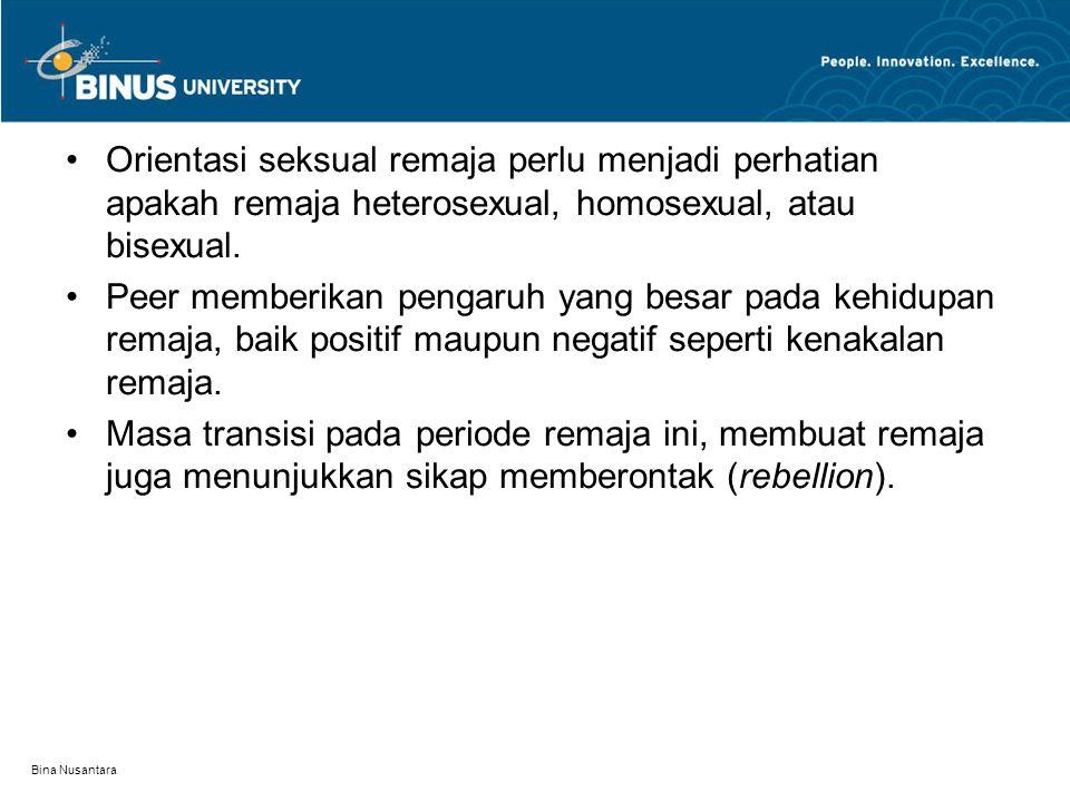 Orientasi seksual remaja perlu menjadi perhatian apakah remaja heterosexual, homosexual, atau bisexual.