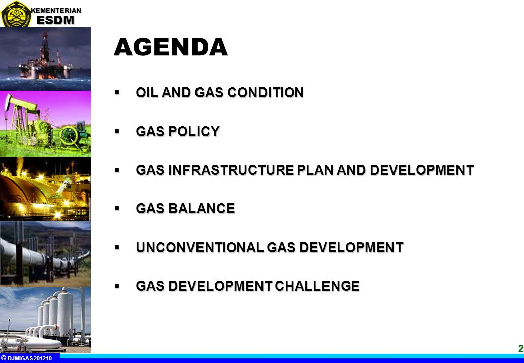 AGENDA OIL AND GAS CONDITION GAS POLICY