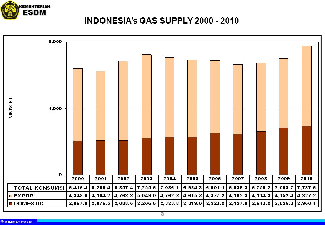 INDONESIA's GAS SUPPLY 2000 - 2010