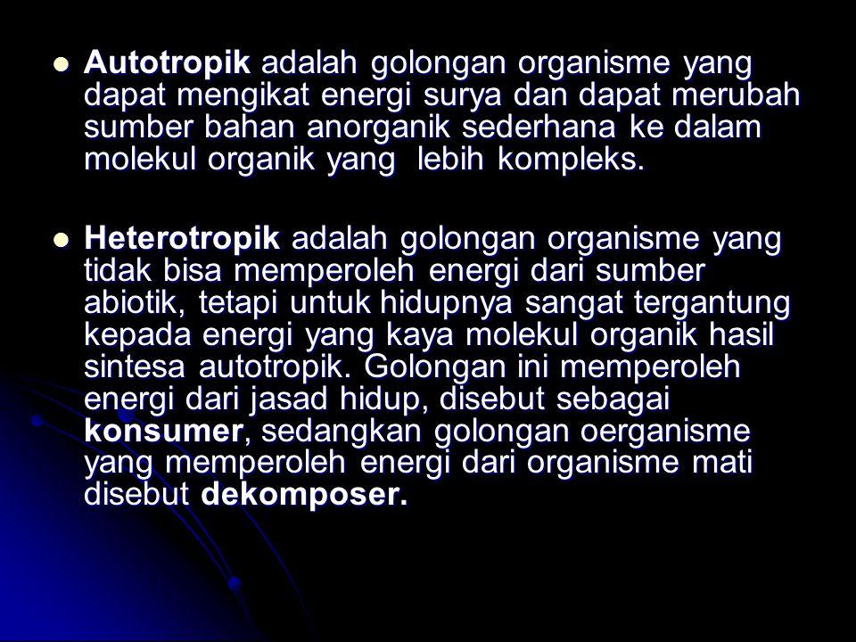 Autotropik adalah golongan organisme yang dapat mengikat energi surya dan dapat merubah sumber bahan anorganik sederhana ke dalam molekul organik yang lebih kompleks.