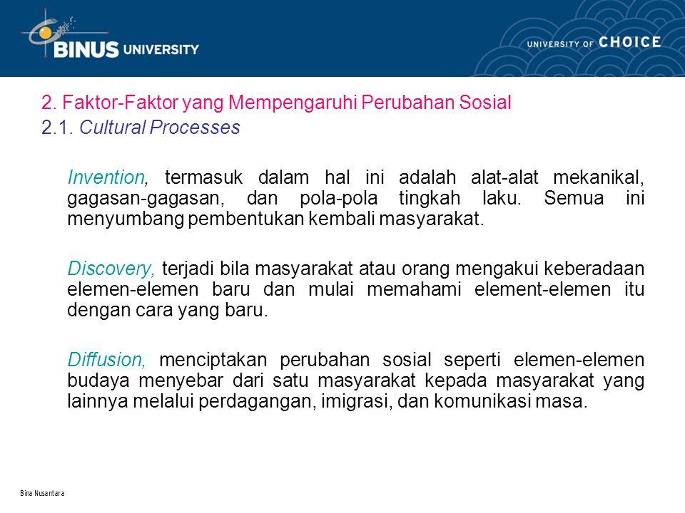 2. Faktor-Faktor yang Mempengaruhi Perubahan Sosial