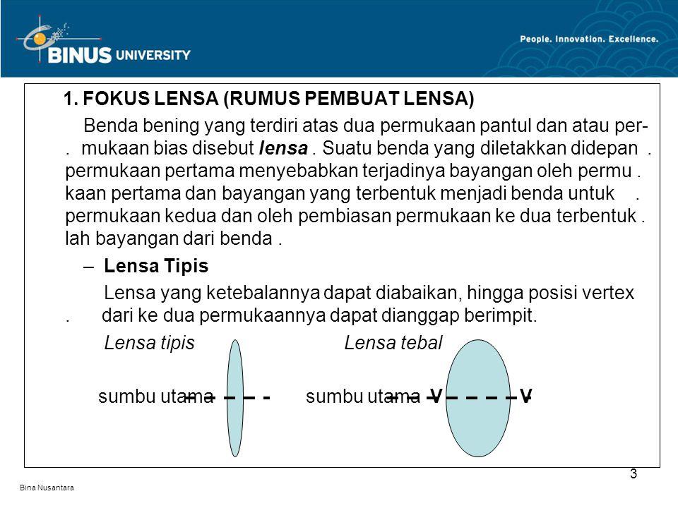 1. FOKUS LENSA (RUMUS PEMBUAT LENSA)