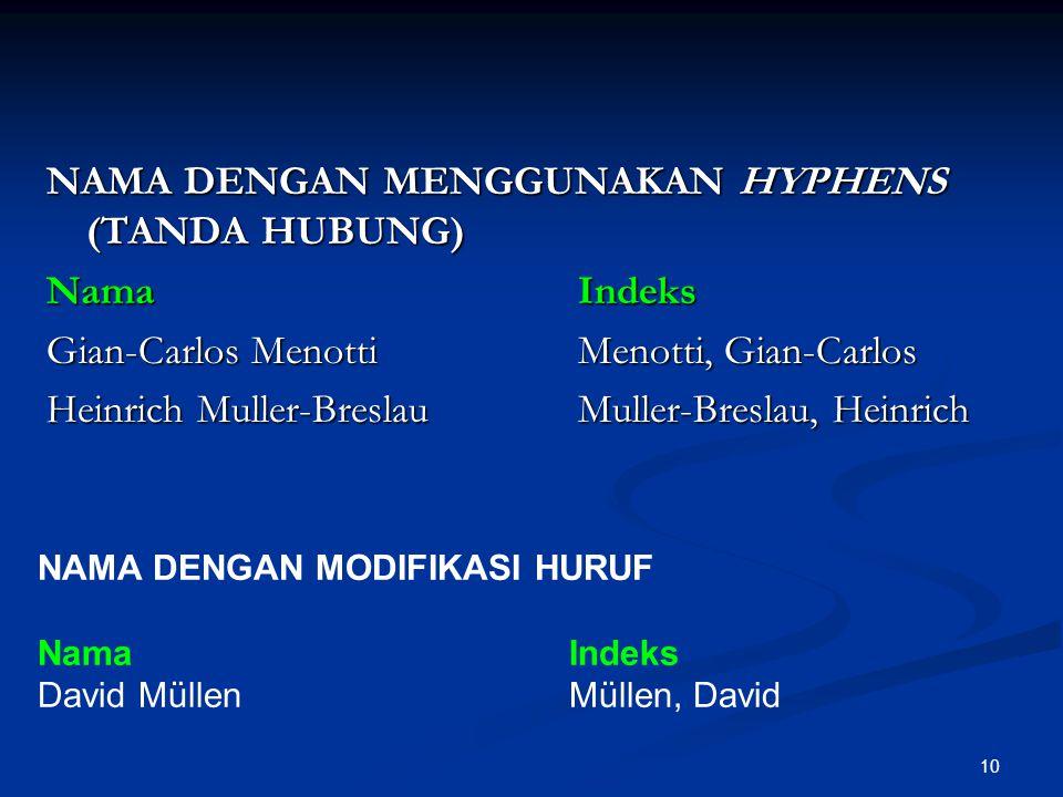 NAMA DENGAN MENGGUNAKAN HYPHENS (TANDA HUBUNG) Nama Indeks