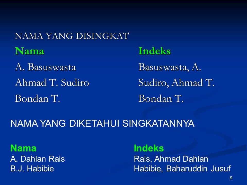 A. Basuswasta Basuswasta, A. Ahmad T. Sudiro Sudiro, Ahmad T.