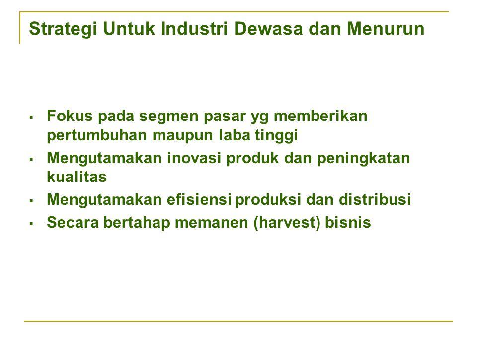 Strategi Untuk Industri Dewasa dan Menurun