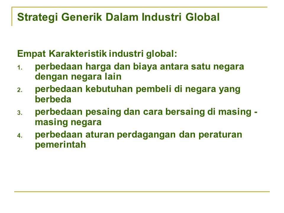 Strategi Generik Dalam Industri Global