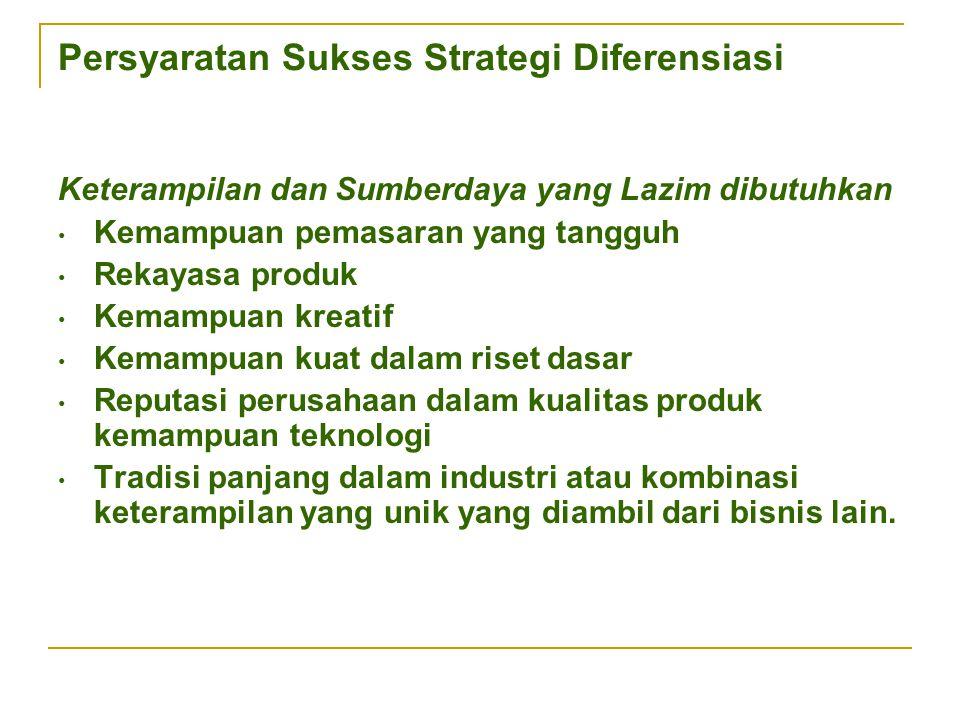 Persyaratan Sukses Strategi Diferensiasi