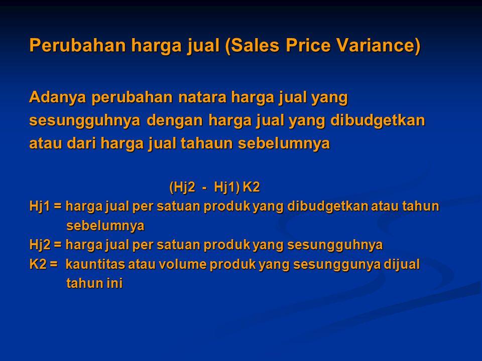 Perubahan harga jual (Sales Price Variance)