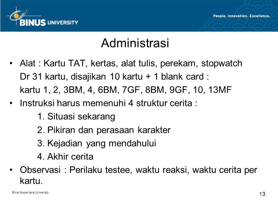 Administrasi Alat : Kartu TAT, kertas, alat tulis, perekam, stopwatch