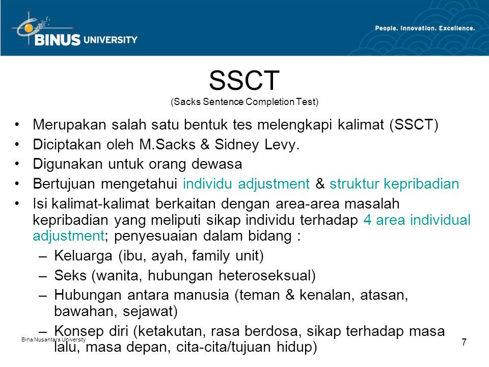 SSCT (Sacks Sentence Completion Test)