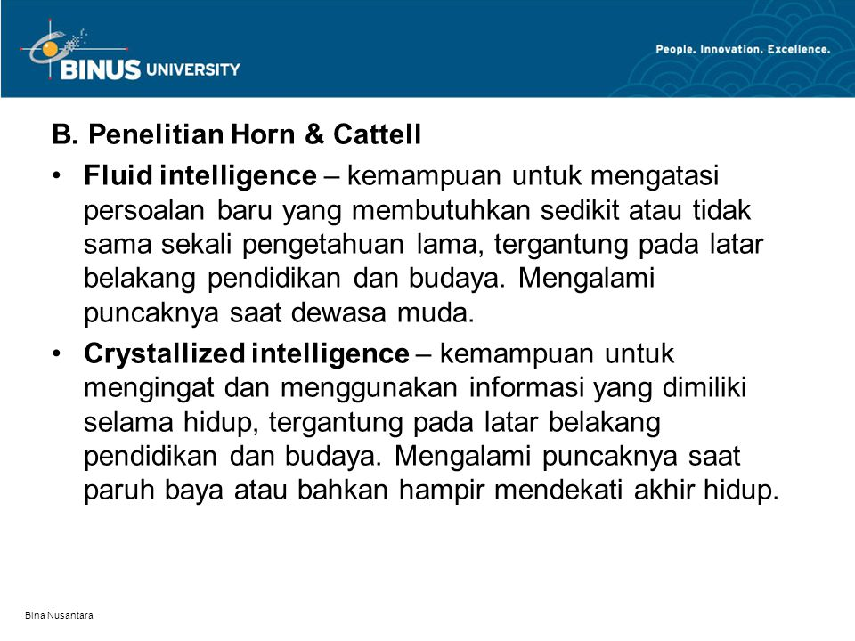 B. Penelitian Horn & Cattell