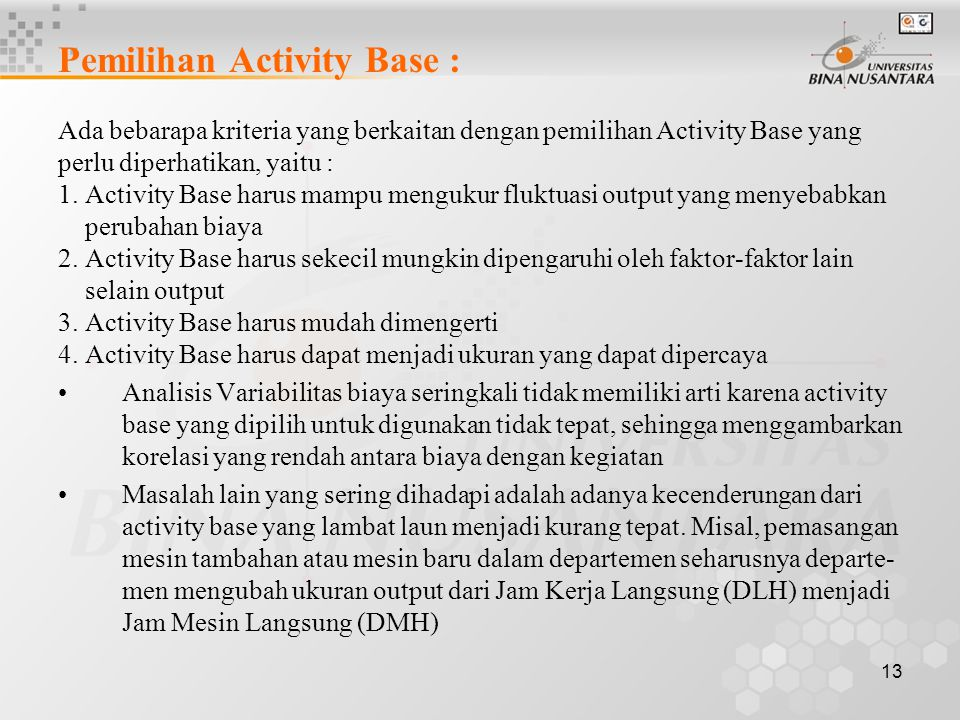 Pemilihan Activity Base :