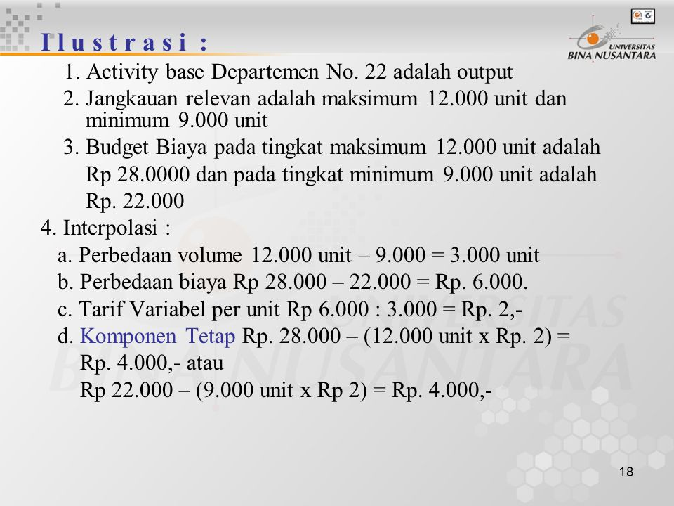 I l u s t r a s i : 1. Activity base Departemen No. 22 adalah output. 2. Jangkauan relevan adalah maksimum 12.000 unit dan minimum 9.000 unit.
