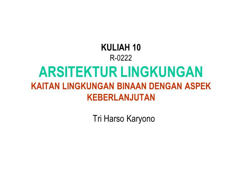 KULIAH 10 R-0222 ARSITEKTUR LINGKUNGAN KAITAN LINGKUNGAN BINAAN DENGAN ASPEK KEBERLANJUTAN