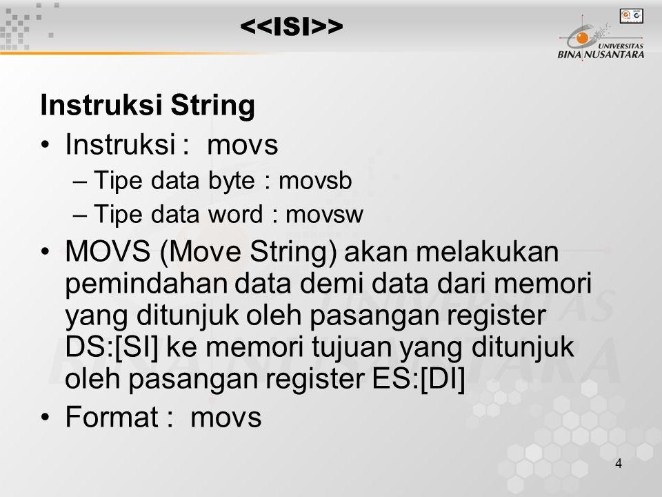 Instruksi String Instruksi : movs