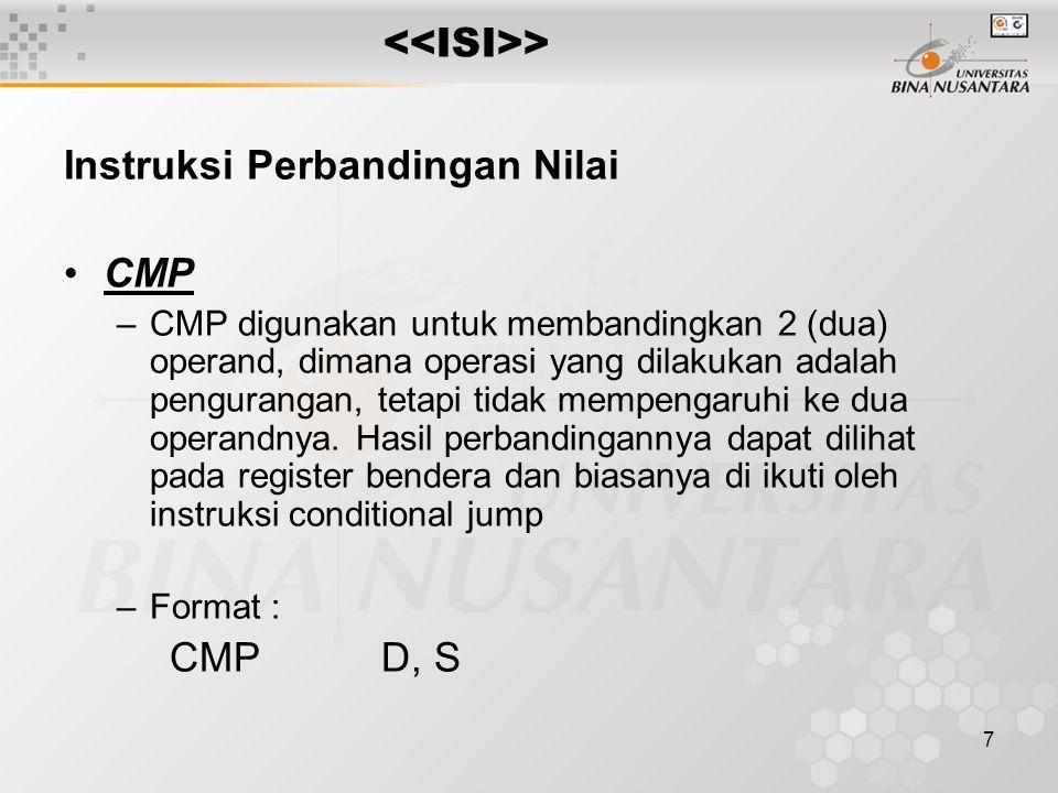 Instruksi Perbandingan Nilai CMP