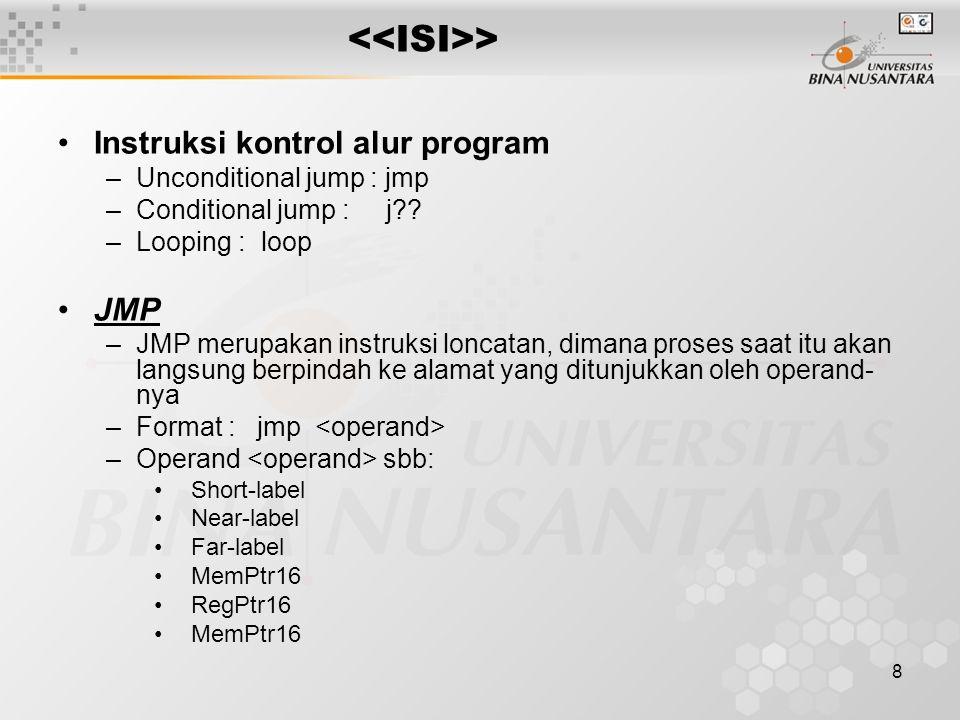 <<ISI>> Instruksi kontrol alur program JMP