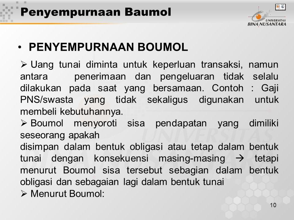 Penyempurnaan Baumol PENYEMPURNAAN BOUMOL