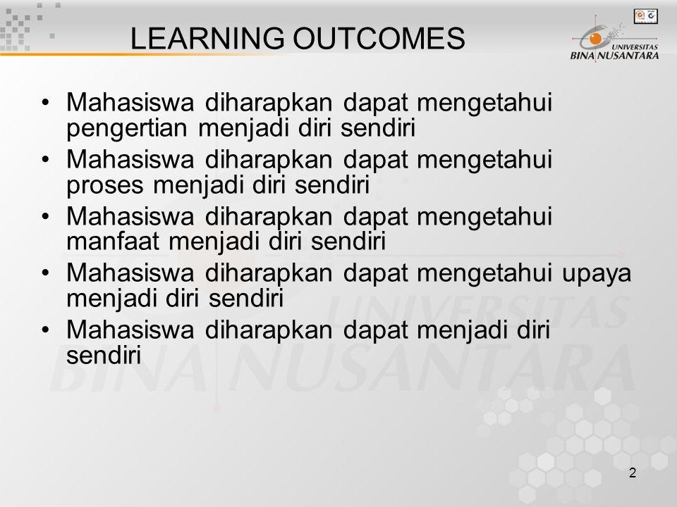 LEARNING OUTCOMES Mahasiswa diharapkan dapat mengetahui pengertian menjadi diri sendiri.