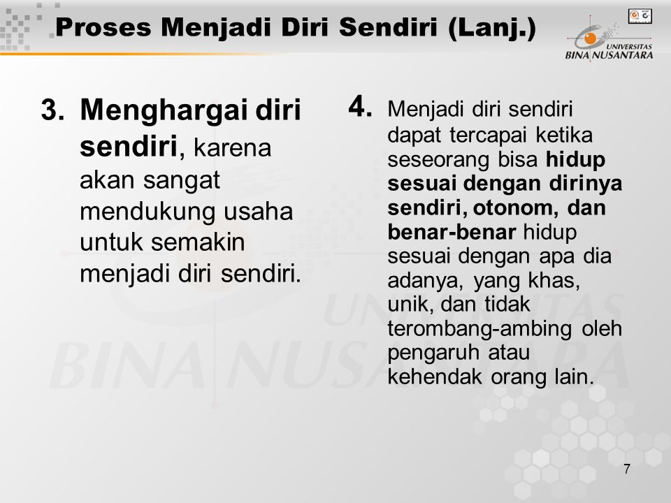 Proses Menjadi Diri Sendiri (Lanj.)