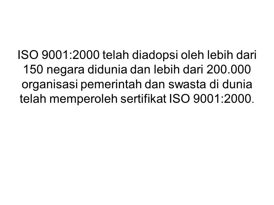 ISO 9001:2000 telah diadopsi oleh lebih dari 150 negara didunia dan lebih dari 200.000 organisasi pemerintah dan swasta di dunia telah memperoleh sertifikat ISO 9001:2000.