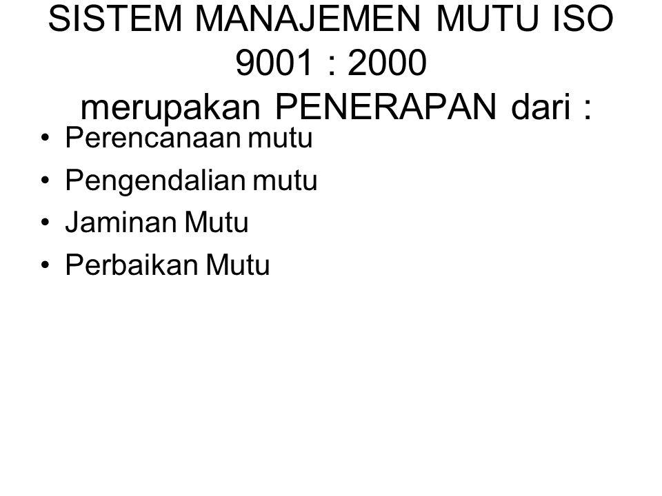 SISTEM MANAJEMEN MUTU ISO 9001 : 2000 merupakan PENERAPAN dari :