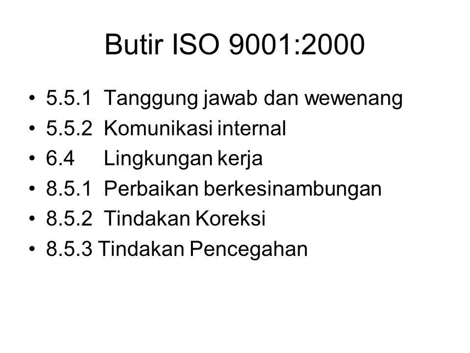 Butir ISO 9001:2000 5.5.1 Tanggung jawab dan wewenang