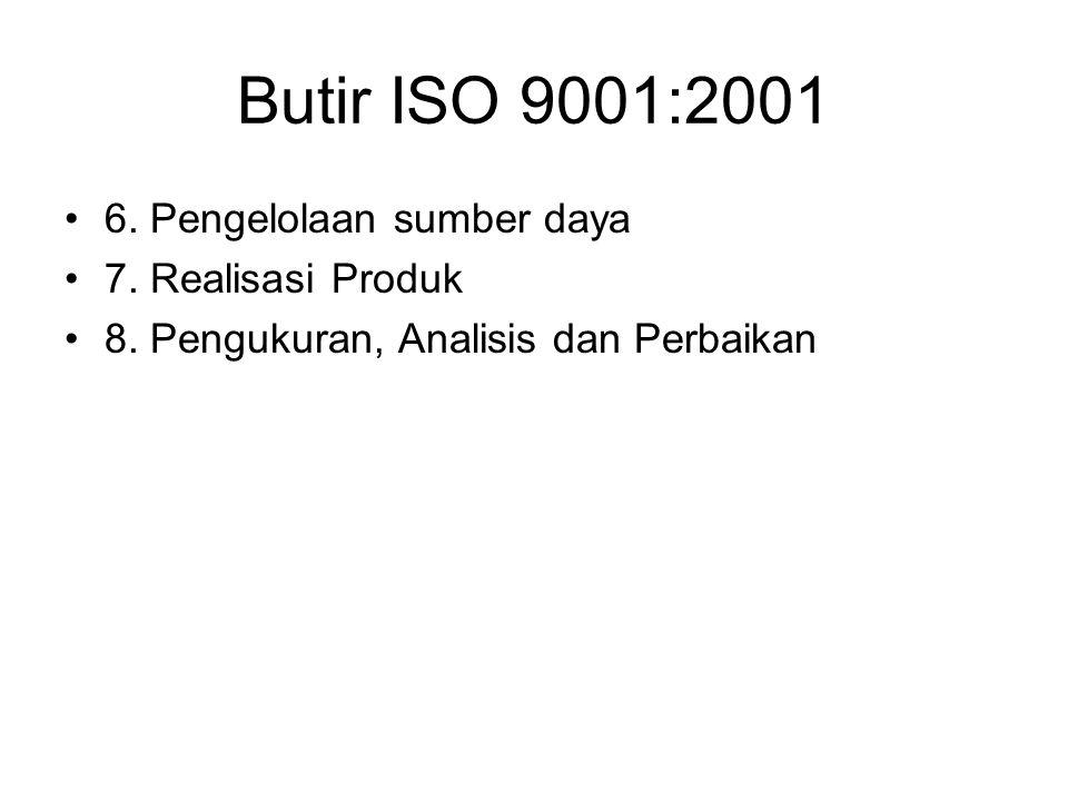 Butir ISO 9001:2001 6. Pengelolaan sumber daya 7. Realisasi Produk