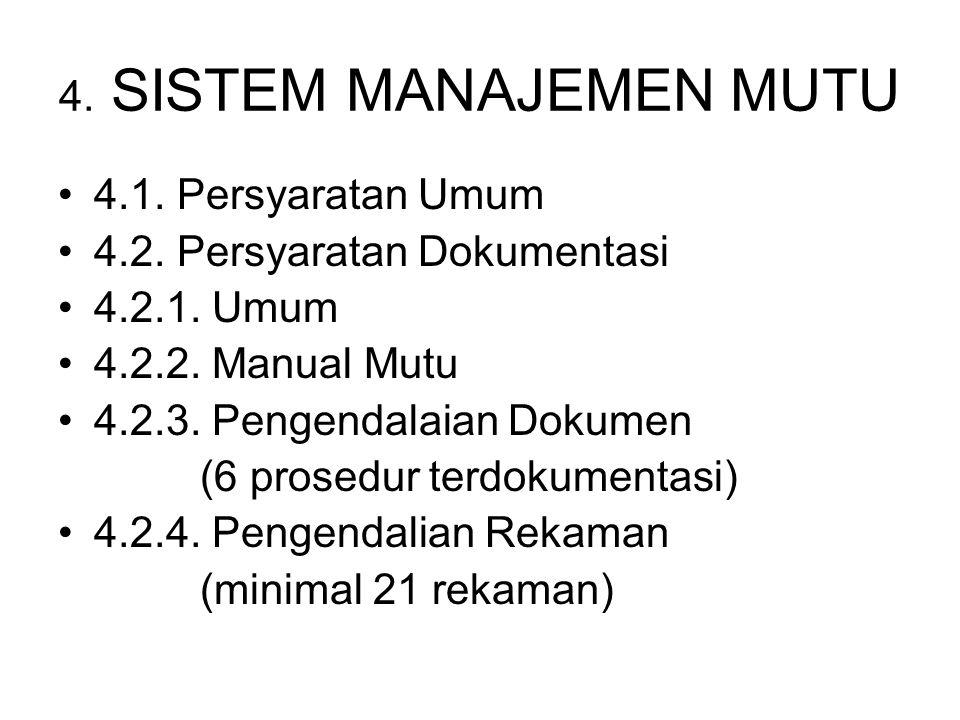 4. SISTEM MANAJEMEN MUTU 4.1. Persyaratan Umum. 4.2. Persyaratan Dokumentasi. 4.2.1. Umum. 4.2.2. Manual Mutu.