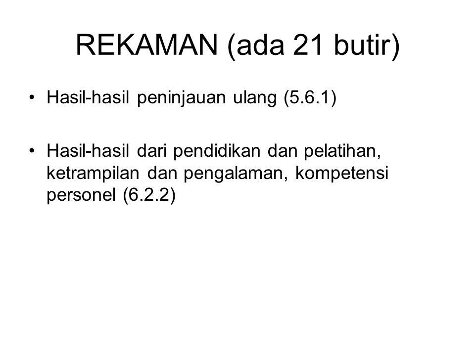 REKAMAN (ada 21 butir) Hasil-hasil peninjauan ulang (5.6.1)