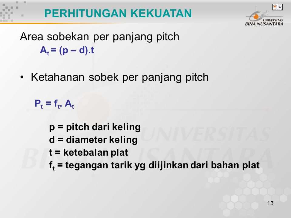 Area sobekan per panjang pitch