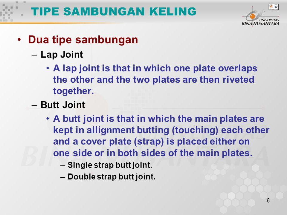 TIPE SAMBUNGAN KELING Dua tipe sambungan Lap Joint