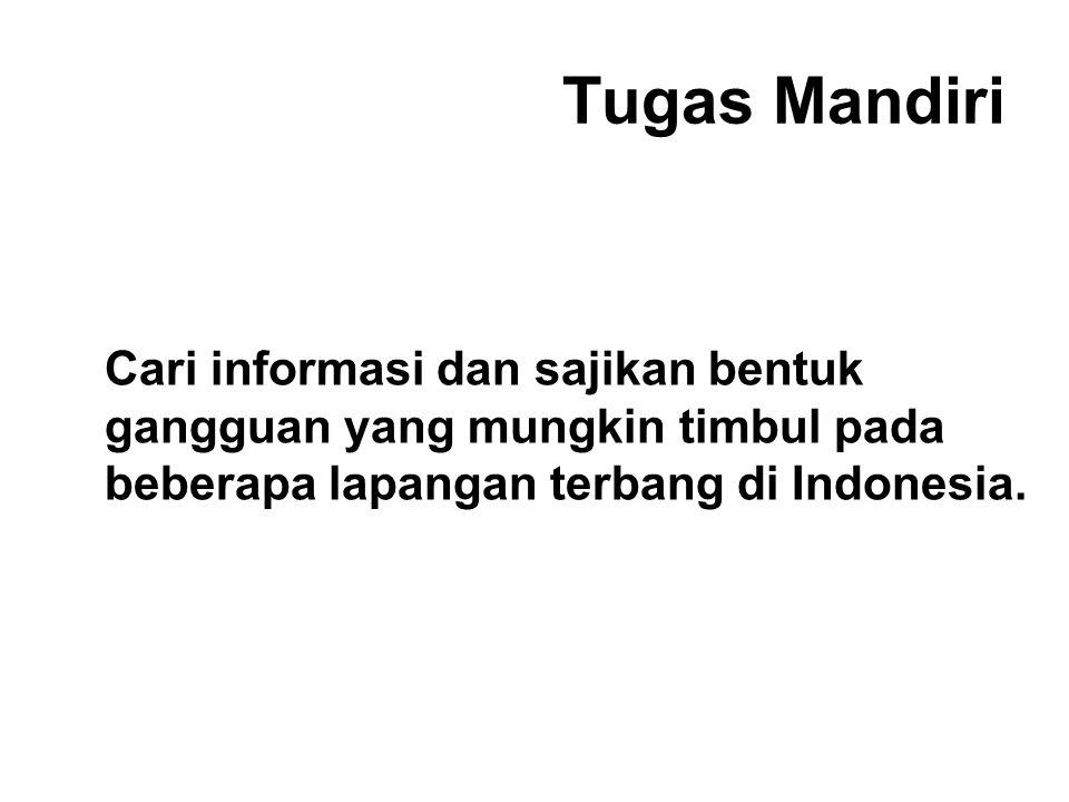 Tugas Mandiri Cari informasi dan sajikan bentuk gangguan yang mungkin timbul pada beberapa lapangan terbang di Indonesia.