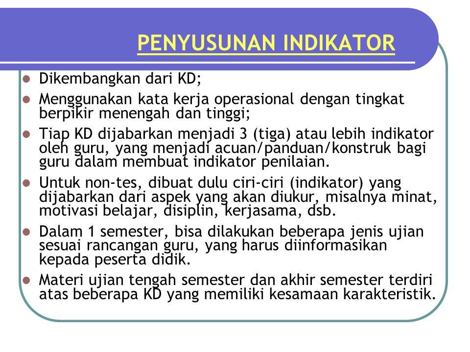 PENYUSUNAN INDIKATOR Dikembangkan dari KD;