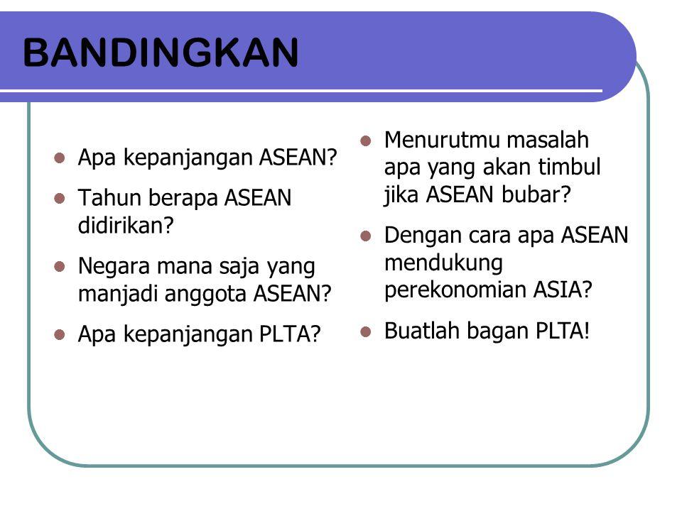 BANDINGKAN Menurutmu masalah apa yang akan timbul jika ASEAN bubar