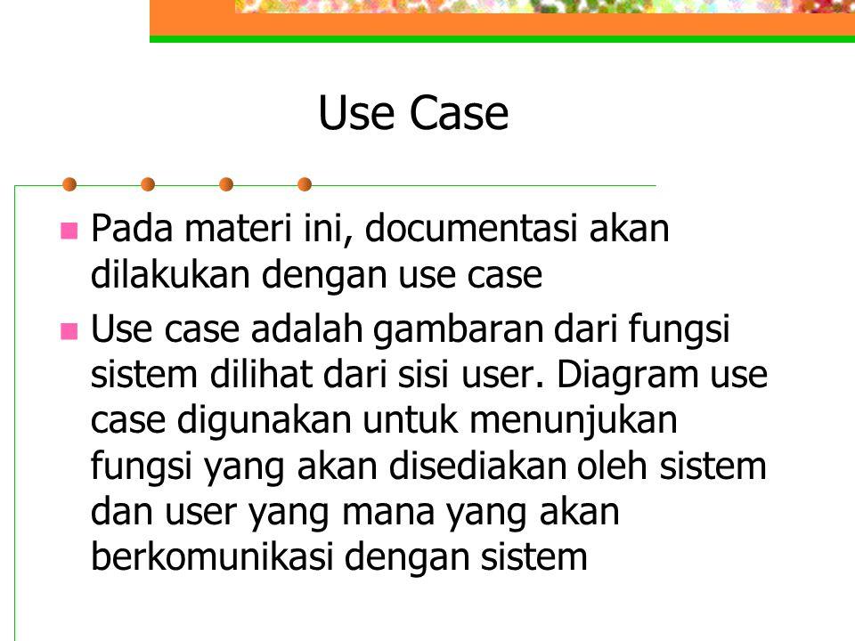 Use Case Pada materi ini, documentasi akan dilakukan dengan use case