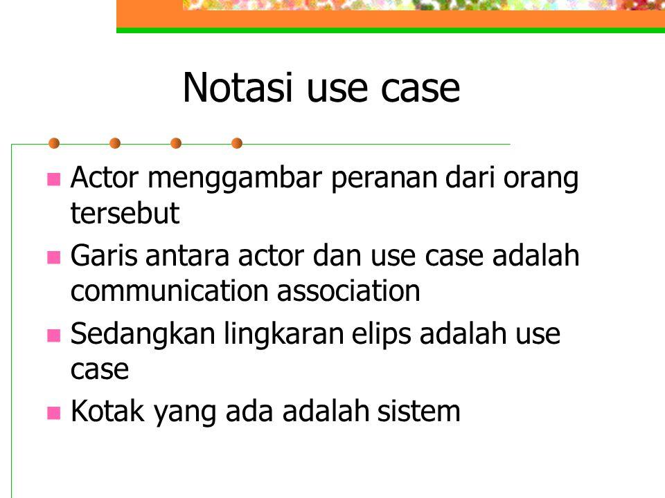 Notasi use case Actor menggambar peranan dari orang tersebut