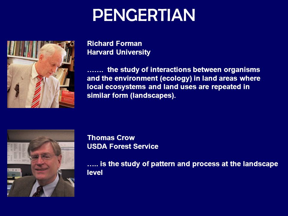 PENGERTIAN Richard Forman Harvard University
