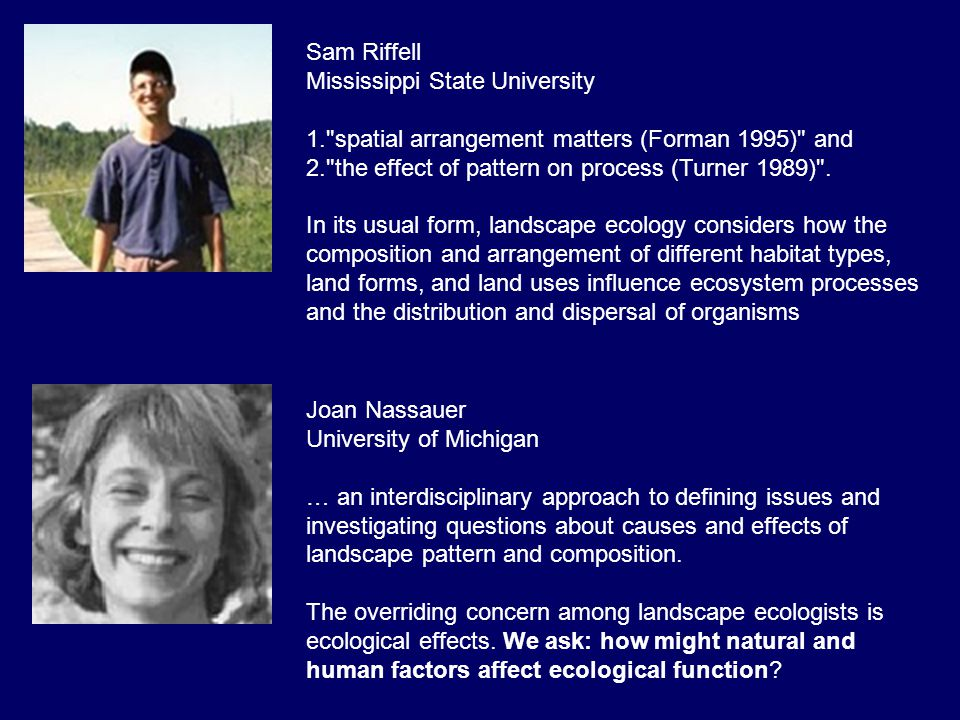 Sam Riffell Mississippi State University. spatial arrangement matters (Forman 1995) and. the effect of pattern on process (Turner 1989) .