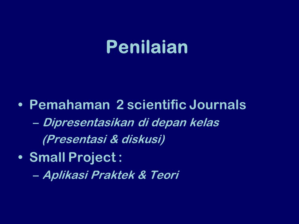 Penilaian Pemahaman 2 scientific Journals Small Project :