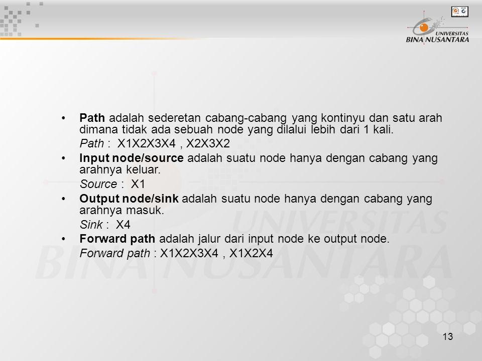 Path adalah sederetan cabang-cabang yang kontinyu dan satu arah dimana tidak ada sebuah node yang dilalui lebih dari 1 kali.