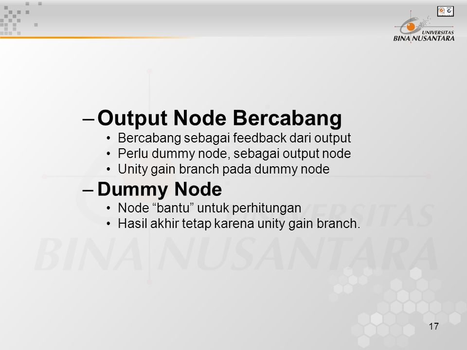 Output Node Bercabang Dummy Node