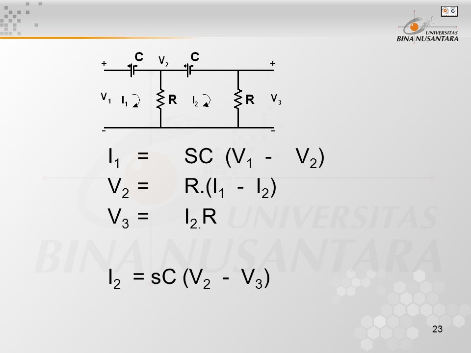 I1 = SC (V1 - V2) V2 = R.(I1 - I2) V3 = I2.R I2 = sC (V2 - V3)