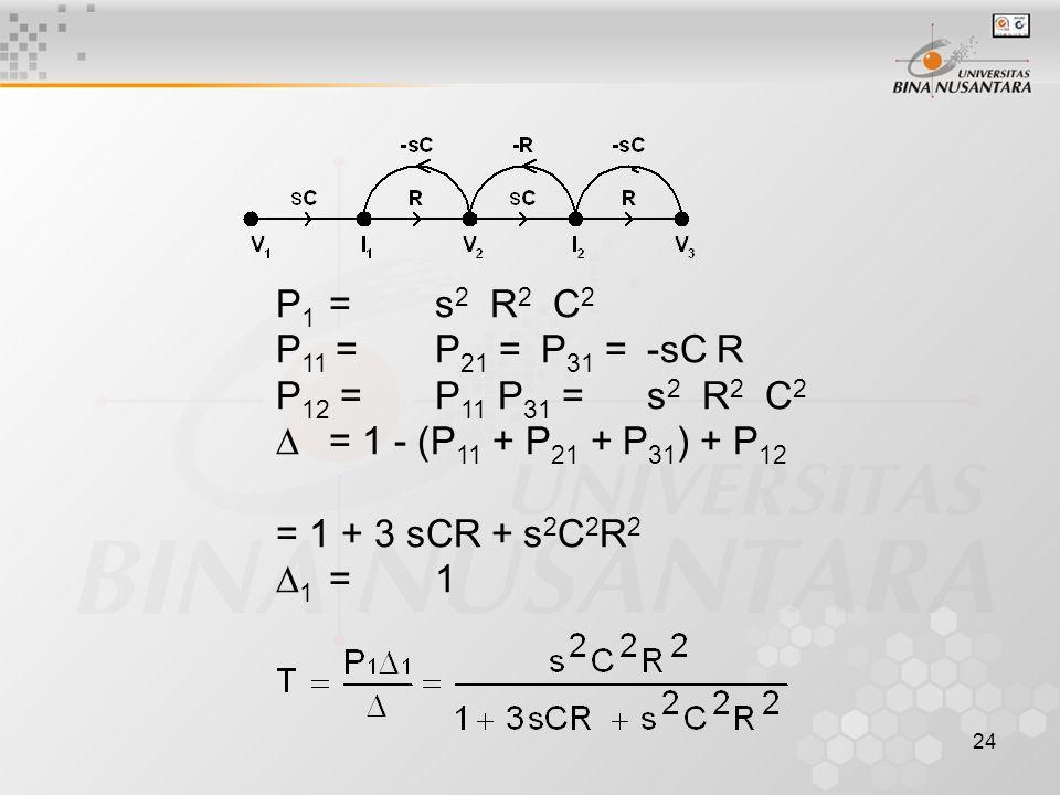 P1 = s2 R2 C2 P11 = P21 = P31 = -sC R. P12 = P11 P31 = s2 R2 C2.  = 1 - (P11 + P21 + P31) + P12.