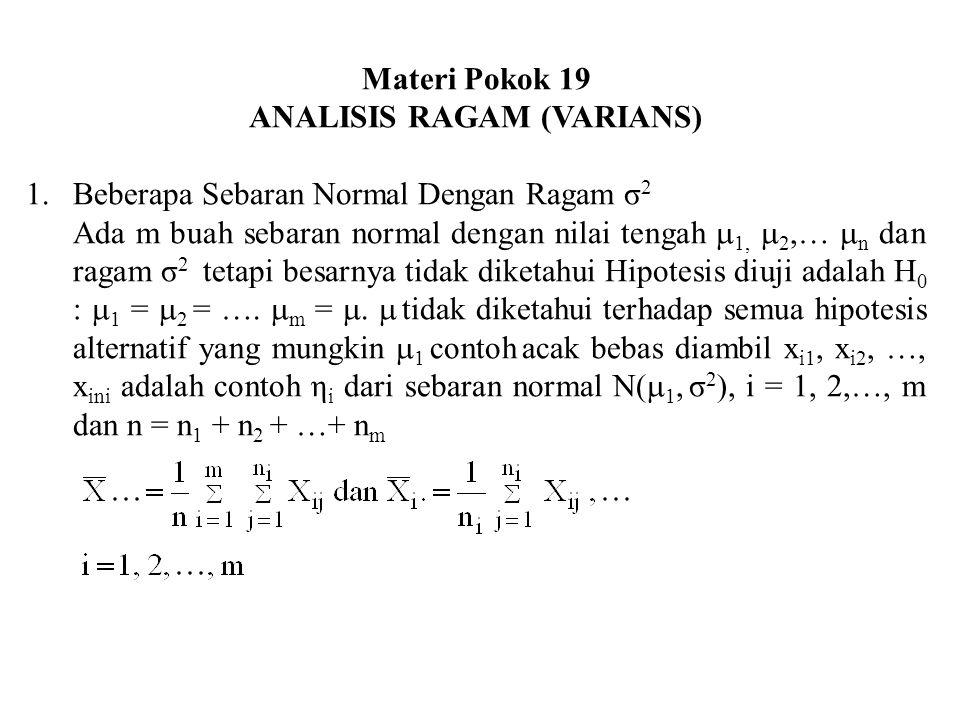 ANALISIS RAGAM (VARIANS)